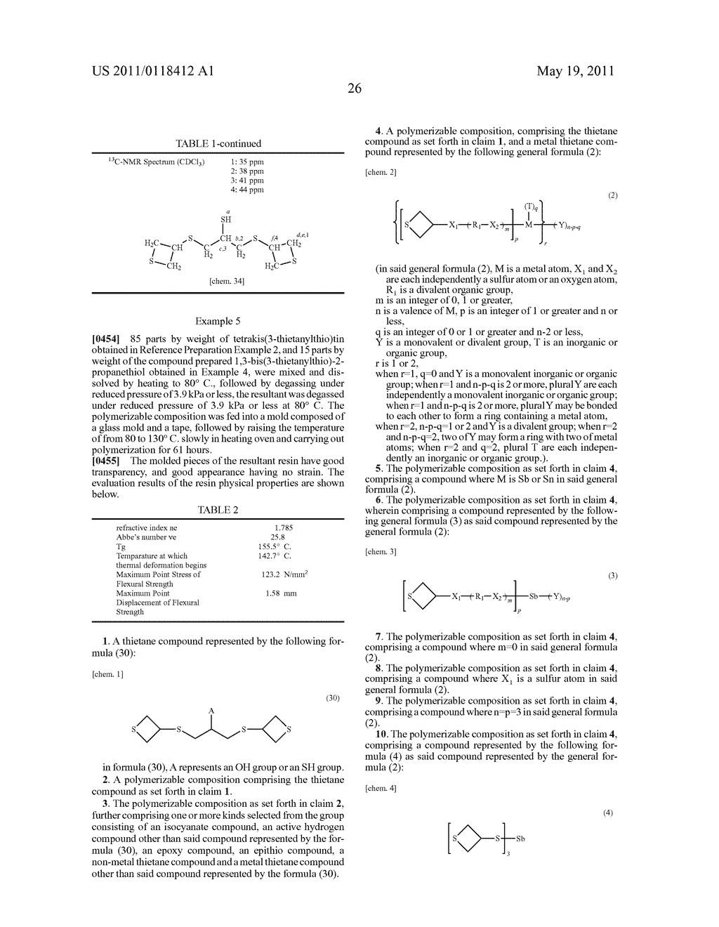 THIETANE COMPOUND, POLYMERIZABLE COMPOSITION CONTAINING THE SAME, RESIN, METHOD FOR PRODUCING THE RESIN, AND USE OF THE POLYMERIZABLE COMPOSITION AND THE RESIN - diagram, schematic, and image 27