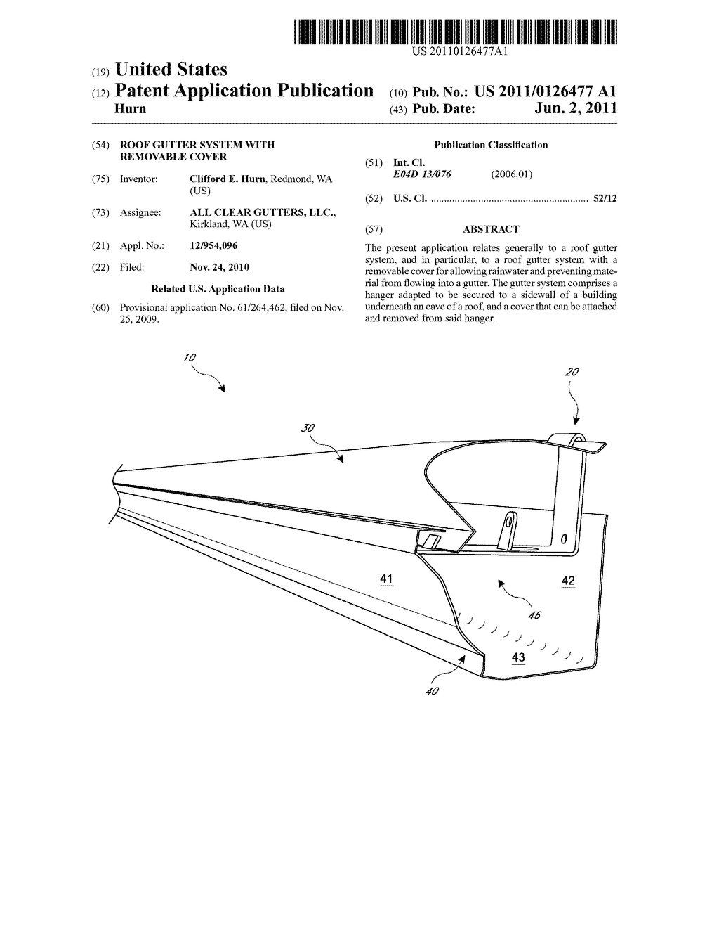 ROOF GUTTER SYSTEM WITH REMOVABLE COVER - diagram, schematic, and image 01