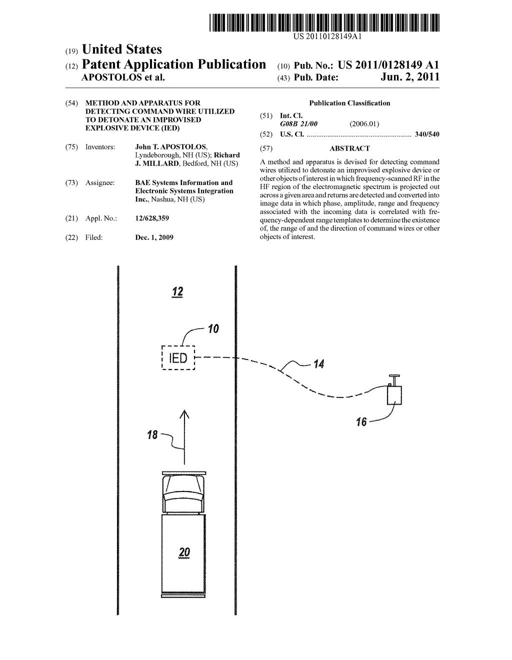 METHOD AND APPARATUS FOR DETECTING COMMAND WIRE UTILIZED TO DETONATE AN  IMPROVISED EXPLOSIVE DEVICE (IED) - diagram, schematic, and image 01
