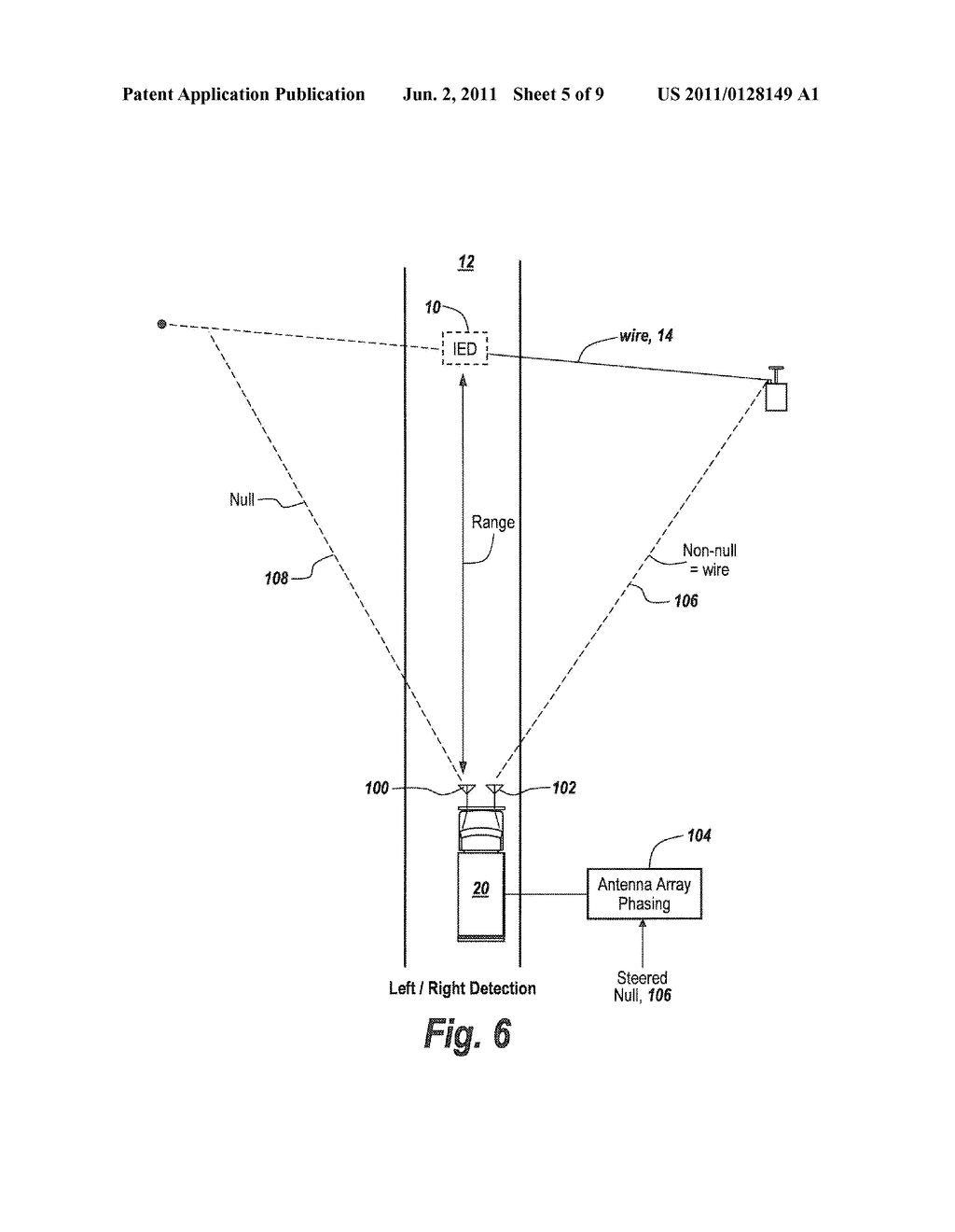 METHOD AND APPARATUS FOR DETECTING COMMAND WIRE UTILIZED TO DETONATE AN  IMPROVISED EXPLOSIVE DEVICE (IED) - diagram, schematic, and image 06