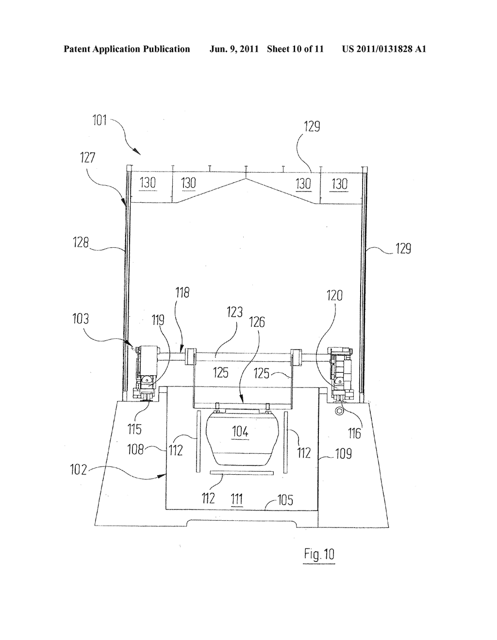 Device for Hardening the Coating of an Object, Consisting of a Material     that Hardens Under Electromagnetic Radiation, More Particularly an UV     Paint or a Thermally Hardening Paint - diagram, schematic, and image 11
