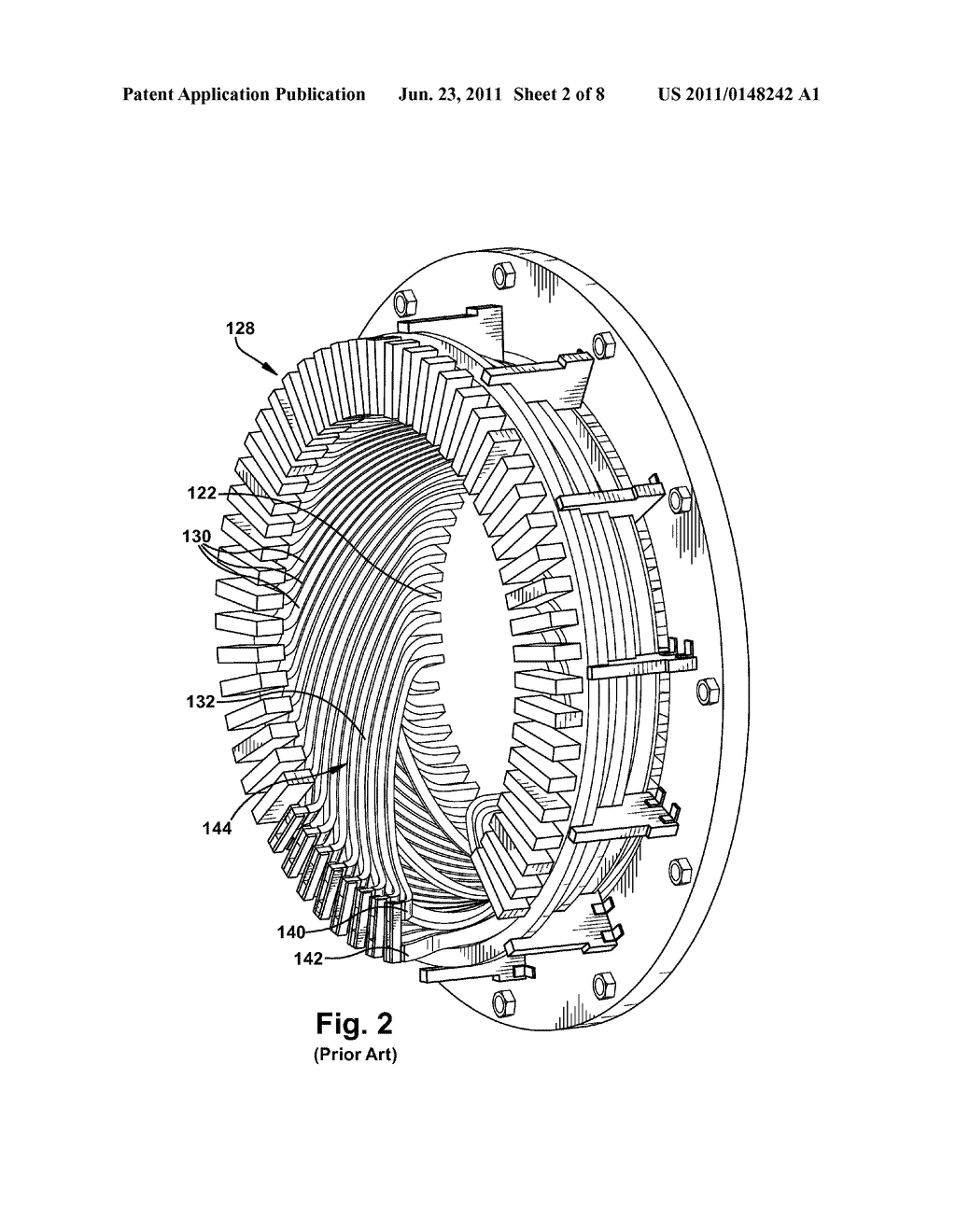 STATOR BAR WITH END ARM INVOLUTE-ON-CONE BEND SUBSTANTIALLY ALIGNED