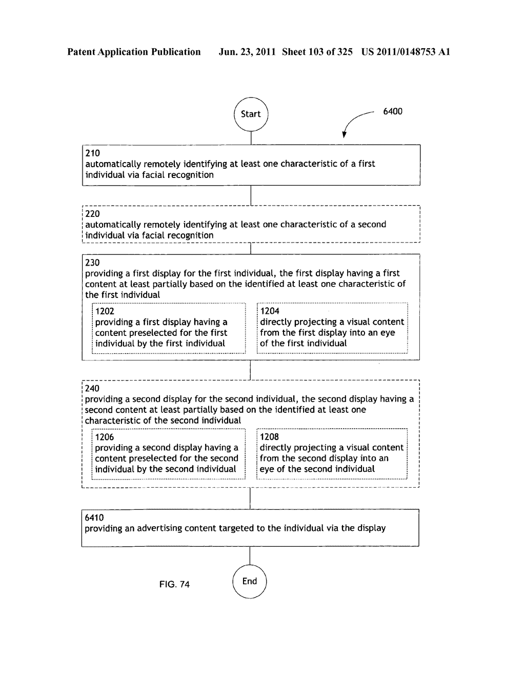 Identifying a characteristic of an individual utilizing facial recognition     and providing a display for the individual - diagram, schematic, and image 104