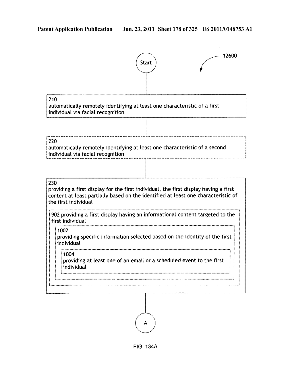 Identifying a characteristic of an individual utilizing facial recognition     and providing a display for the individual - diagram, schematic, and image 179