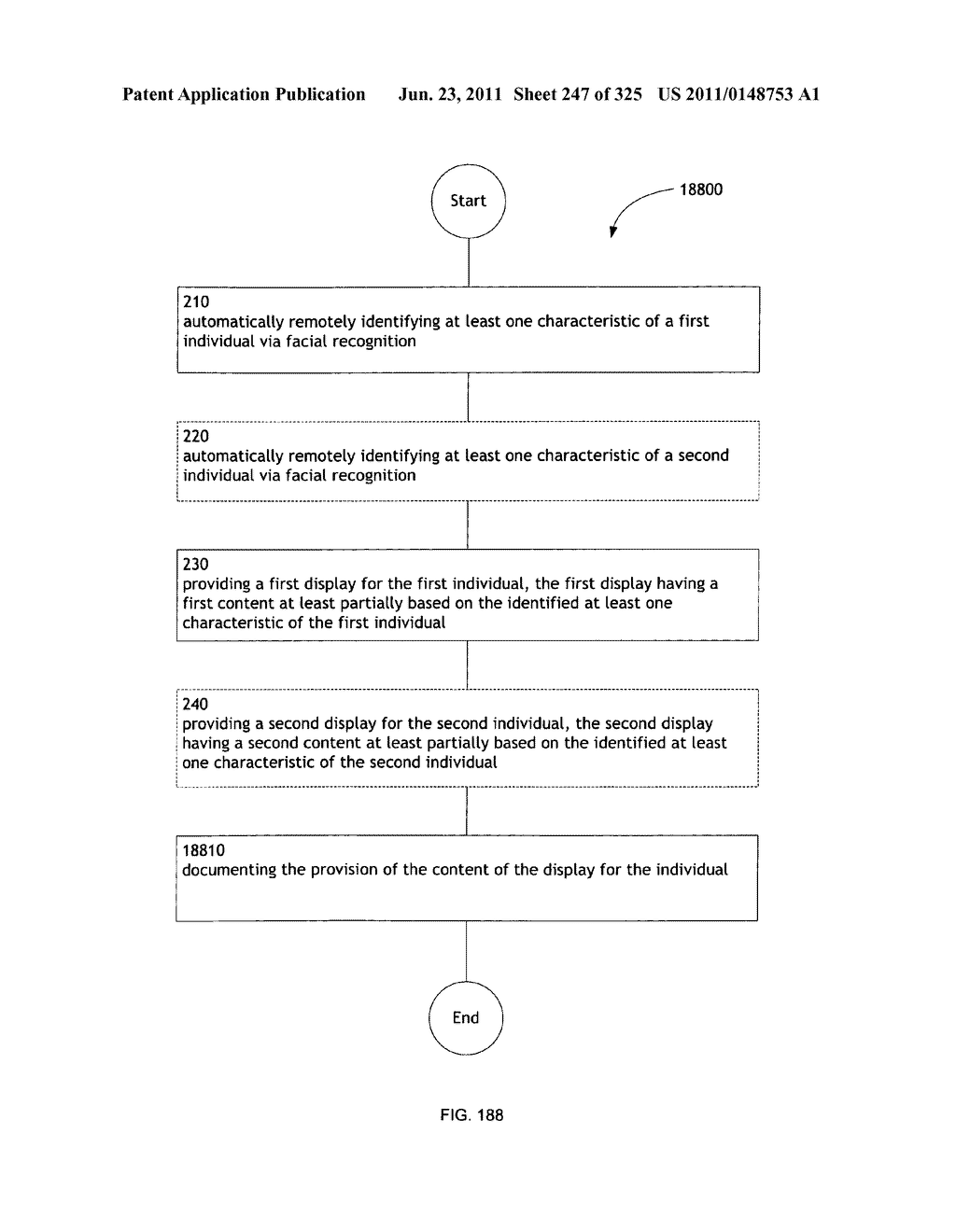 Identifying a characteristic of an individual utilizing facial recognition     and providing a display for the individual - diagram, schematic, and image 248