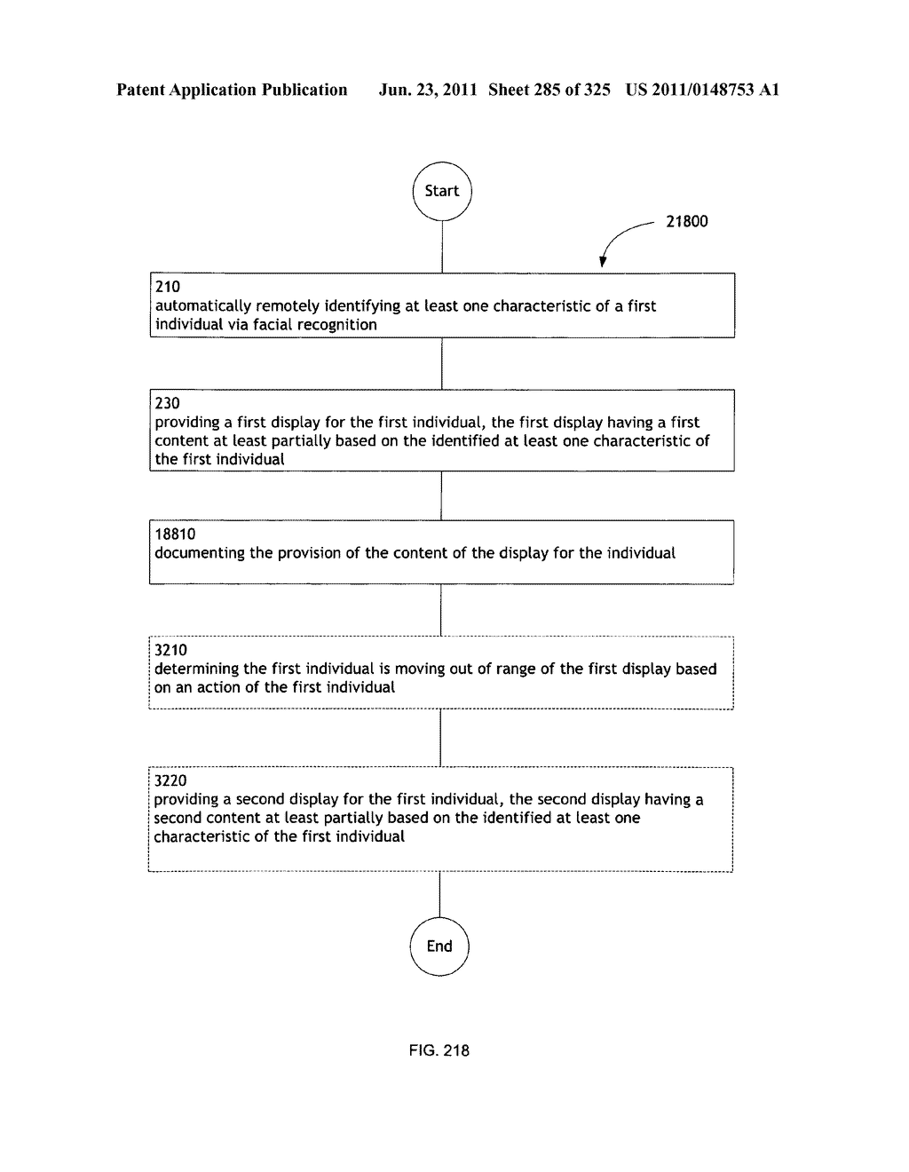 Identifying a characteristic of an individual utilizing facial recognition     and providing a display for the individual - diagram, schematic, and image 286