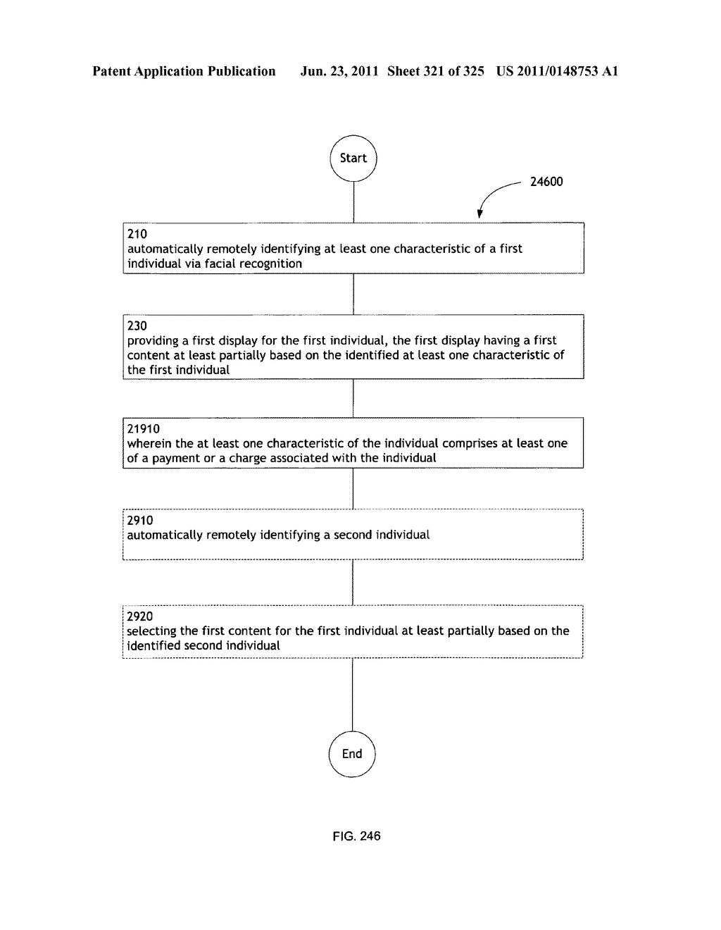 Identifying a characteristic of an individual utilizing facial recognition     and providing a display for the individual - diagram, schematic, and image 322