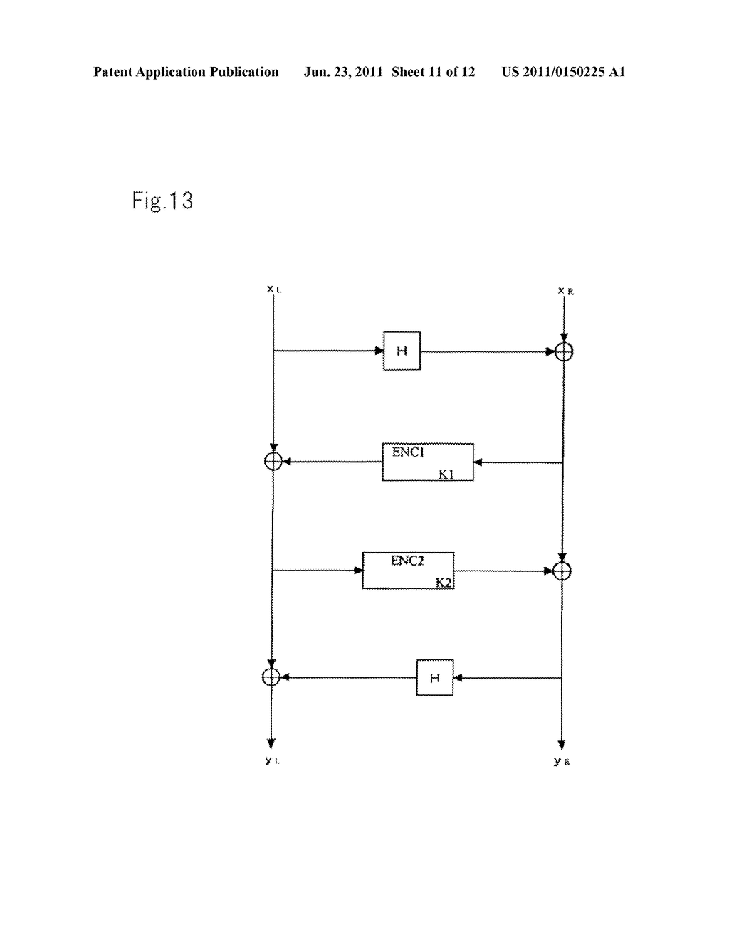 ENCRYPTION DEVICES FOR BLOCK HAVING DOUBLE BLOCK LENGTH, DECRYPTION     DEVICES, ENCRYPTION METHOD, DECRYPTION METHOD, AND PROGRAMS THEREOF - diagram, schematic, and image 12