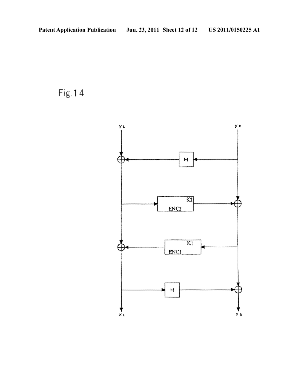 ENCRYPTION DEVICES FOR BLOCK HAVING DOUBLE BLOCK LENGTH, DECRYPTION     DEVICES, ENCRYPTION METHOD, DECRYPTION METHOD, AND PROGRAMS THEREOF - diagram, schematic, and image 13