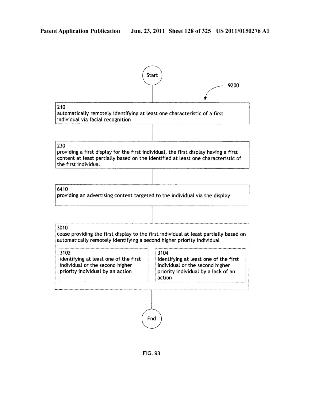 Identifying a characteristic of an individual utilizing facial recognition     and providing a display for the individual - diagram, schematic, and image 129