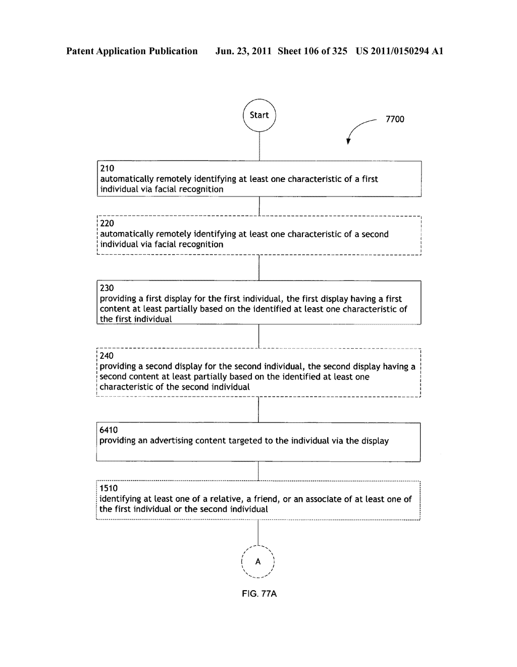Identifying a characteristic of an individual utilizing facial recognition     and providing a display for the individual - diagram, schematic, and image 107