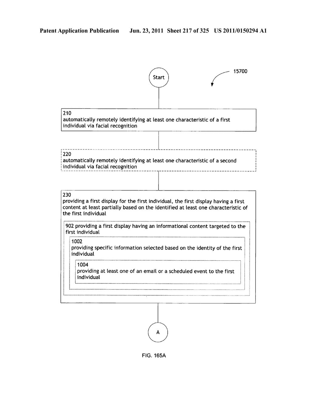 Identifying a characteristic of an individual utilizing facial recognition     and providing a display for the individual - diagram, schematic, and image 218