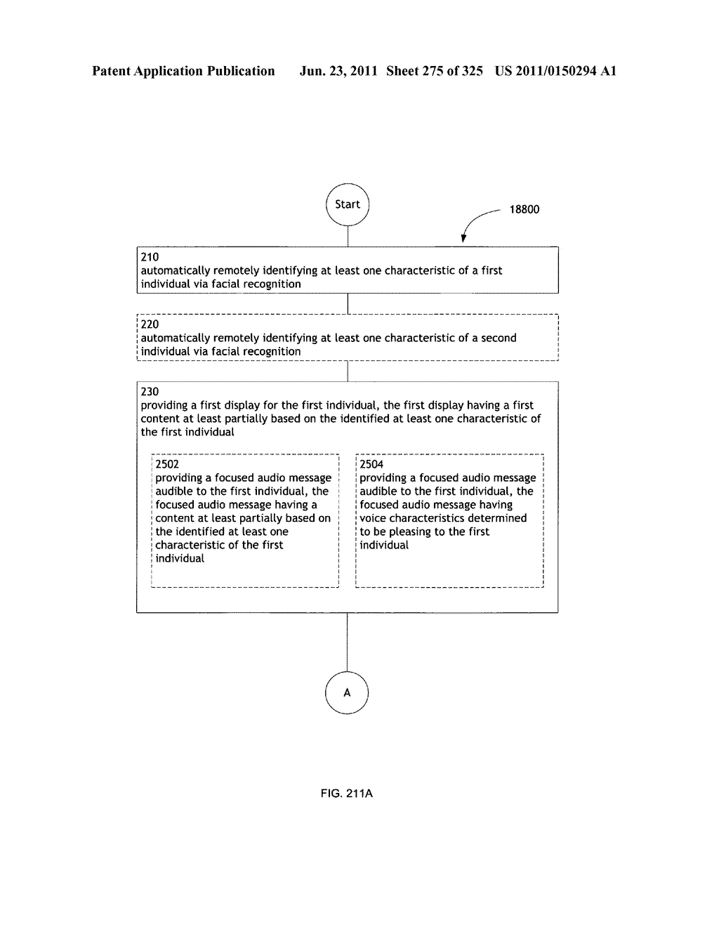 Identifying a characteristic of an individual utilizing facial recognition     and providing a display for the individual - diagram, schematic, and image 276