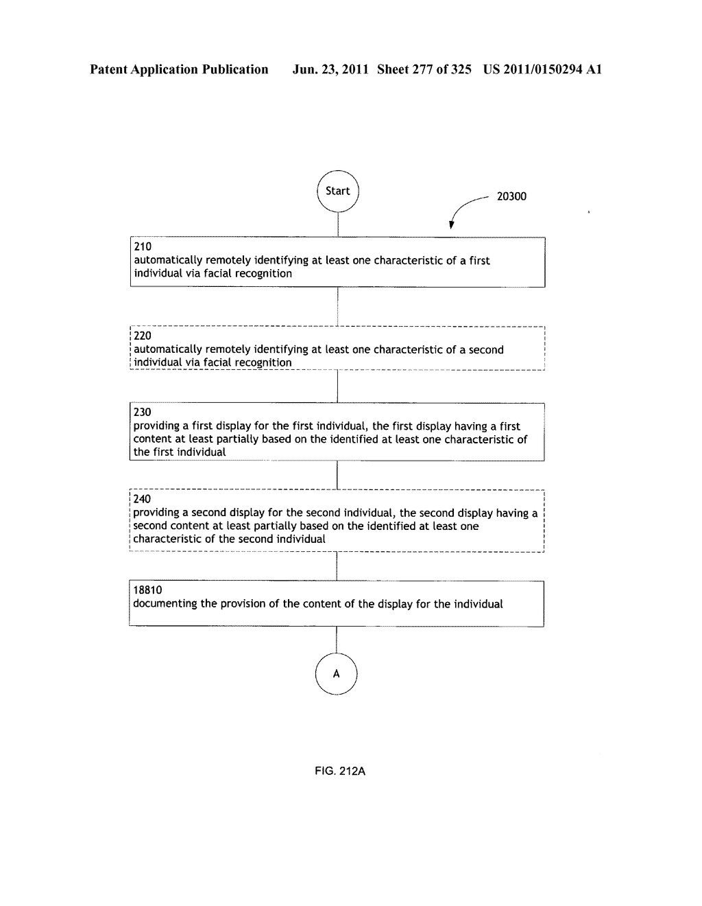 Identifying a characteristic of an individual utilizing facial recognition     and providing a display for the individual - diagram, schematic, and image 278
