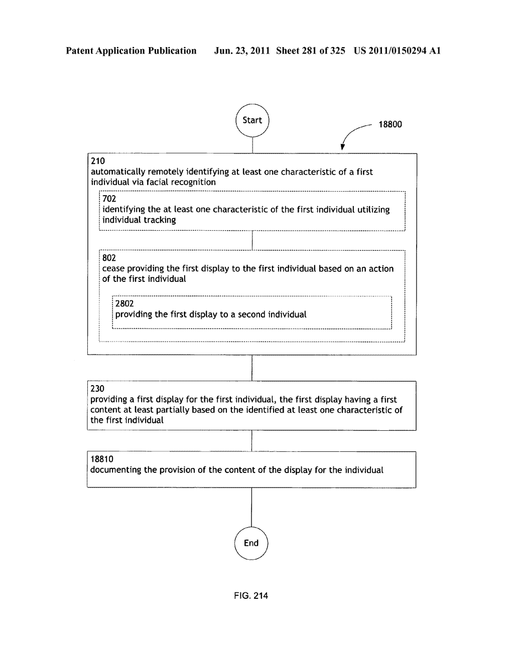 Identifying a characteristic of an individual utilizing facial recognition     and providing a display for the individual - diagram, schematic, and image 282