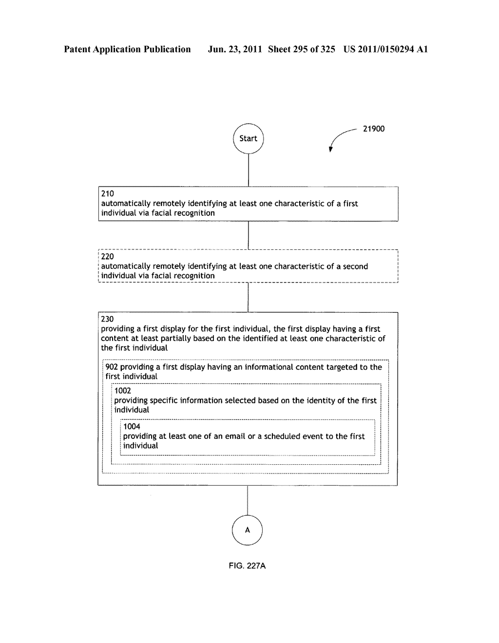 Identifying a characteristic of an individual utilizing facial recognition     and providing a display for the individual - diagram, schematic, and image 296