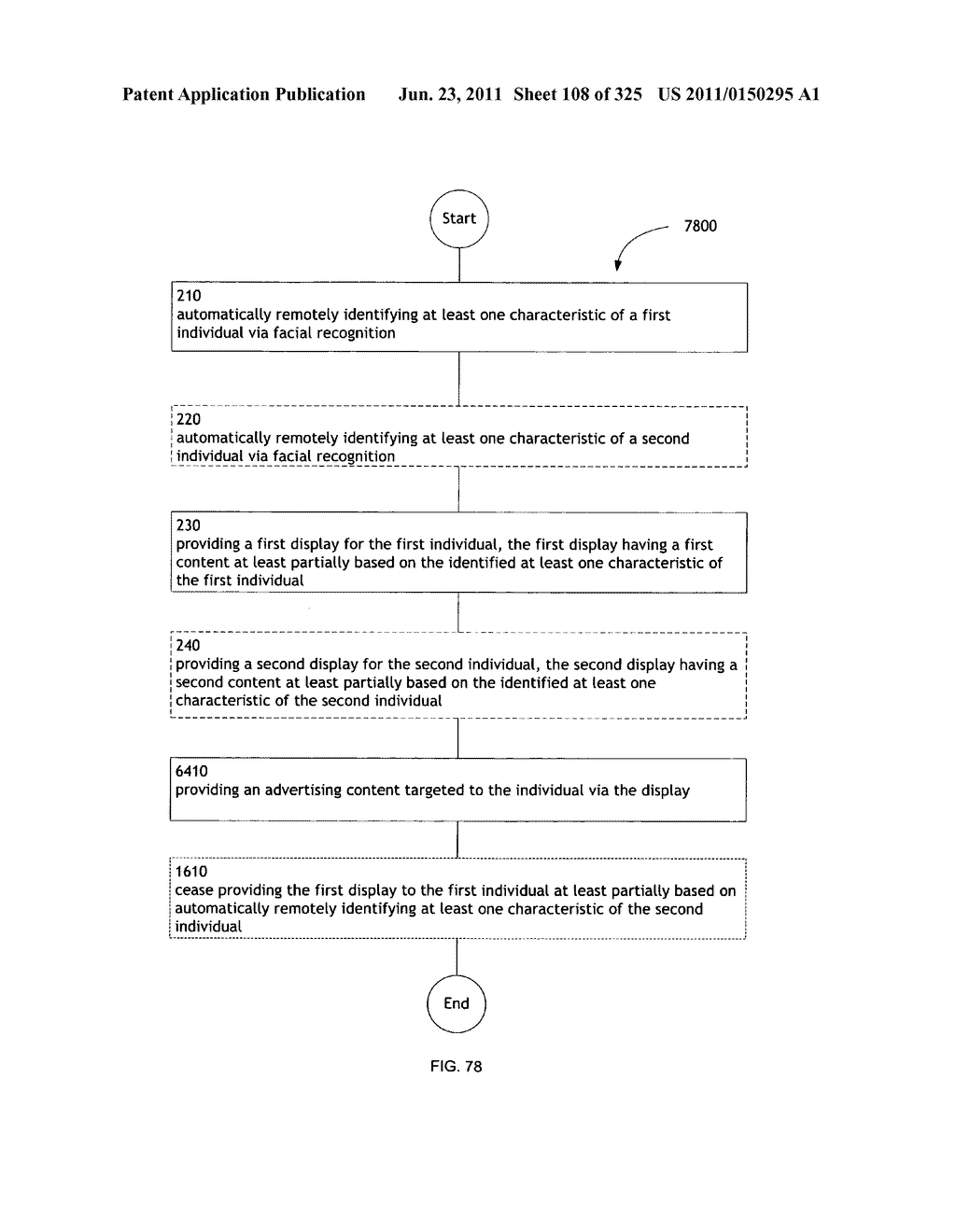 Identifying a characteristic of an individual utilizing facial recognition     and providing a display for the individual - diagram, schematic, and image 109