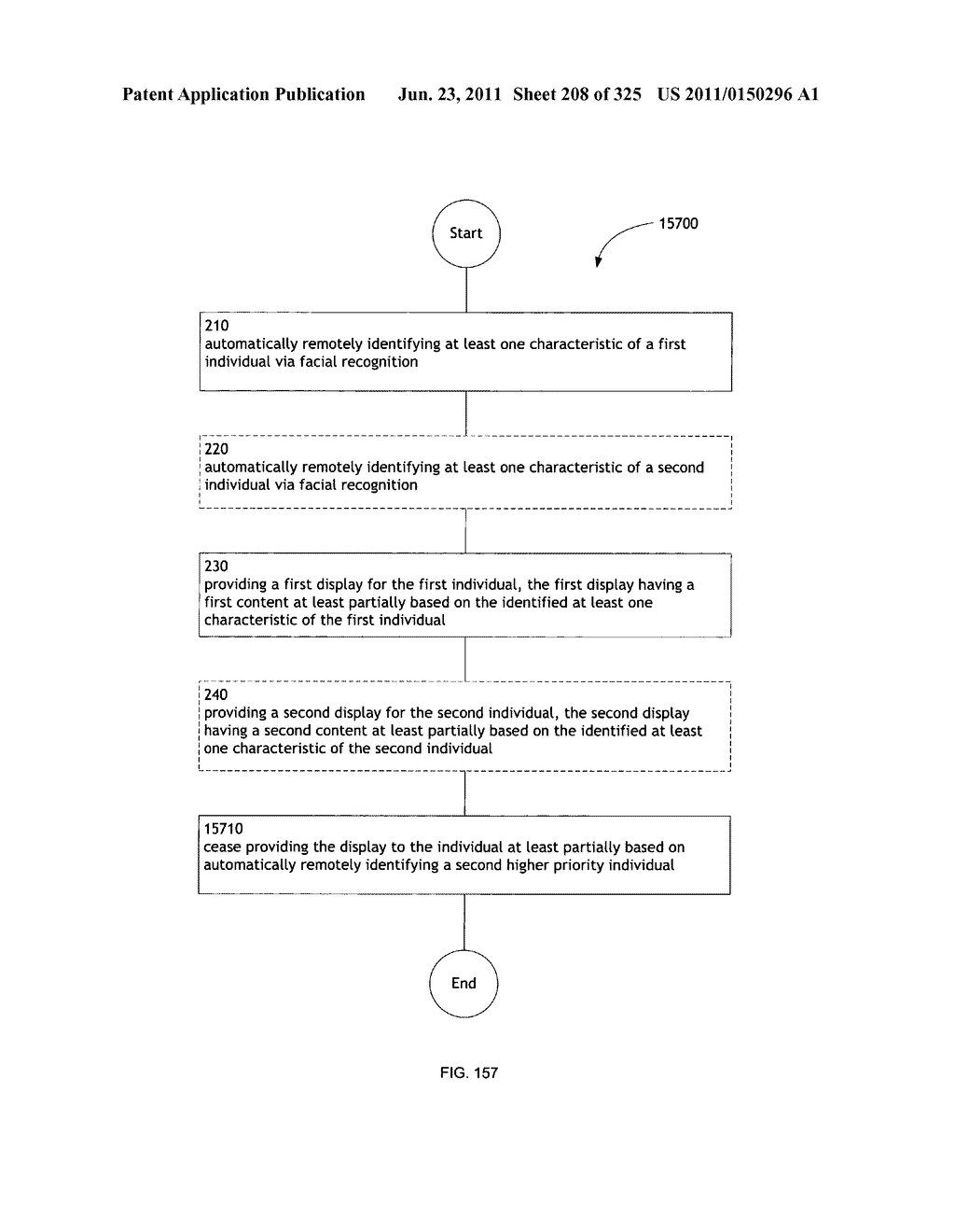 Identifying a characteristic of an individual utilizing facial recognition     and providing a display  for the individual - diagram, schematic, and image 209