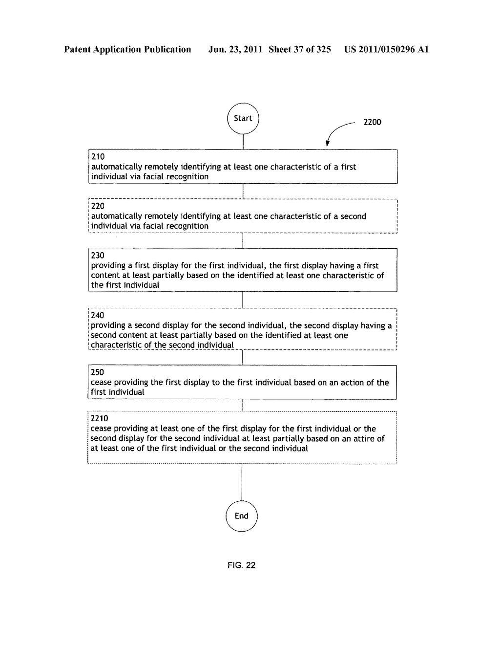 Identifying a characteristic of an individual utilizing facial recognition     and providing a display  for the individual - diagram, schematic, and image 38