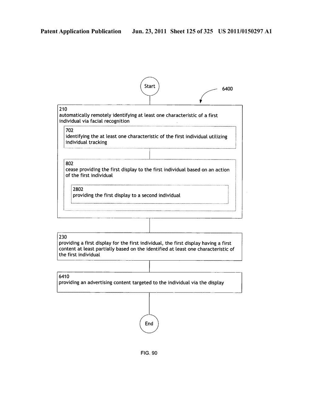 Identifying a characteristic of an individual utilizing facial recognition     and providing a display for the individual - diagram, schematic, and image 126