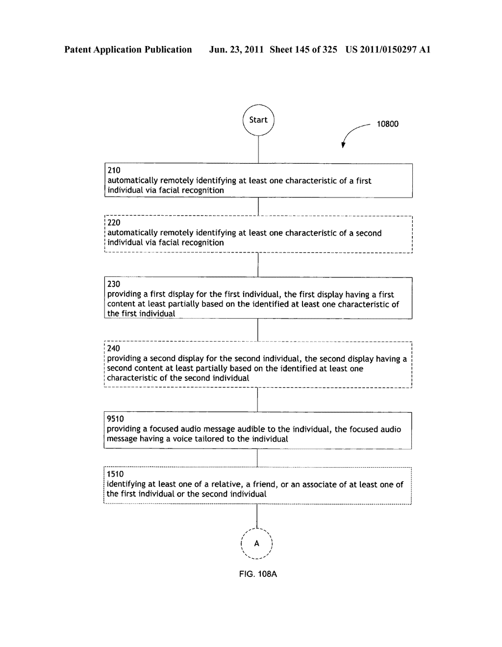 Identifying a characteristic of an individual utilizing facial recognition     and providing a display for the individual - diagram, schematic, and image 146