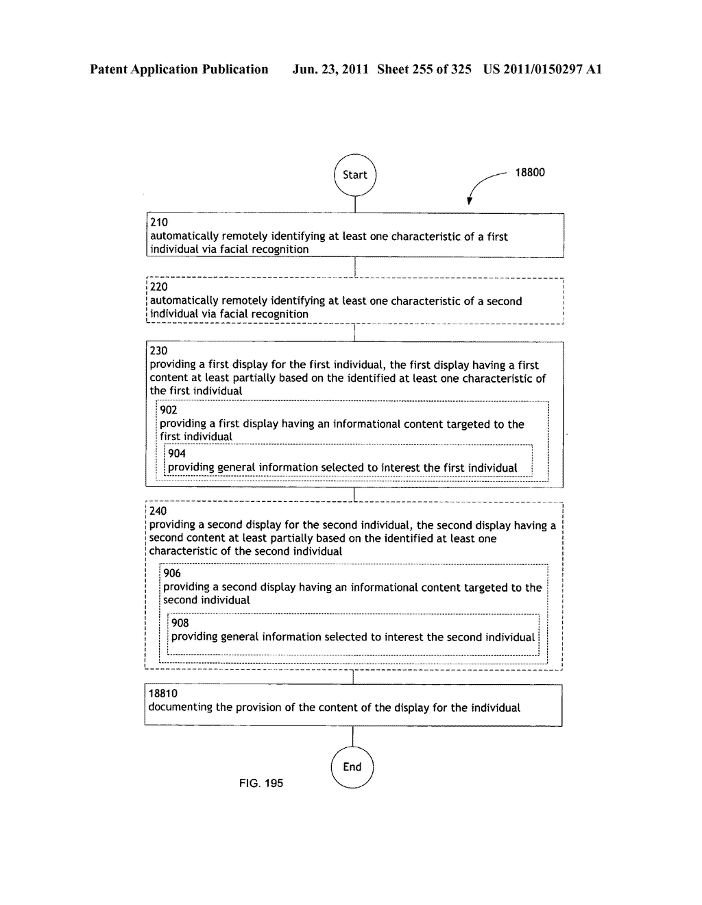 Identifying a characteristic of an individual utilizing facial recognition     and providing a display for the individual - diagram, schematic, and image 256
