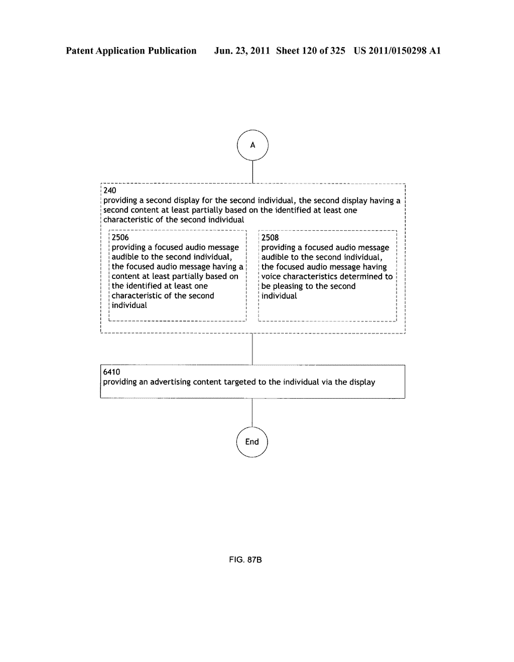 Identifying a characteristic of an individual utilizing facial recognition     and providing a display for the individual - diagram, schematic, and image 121