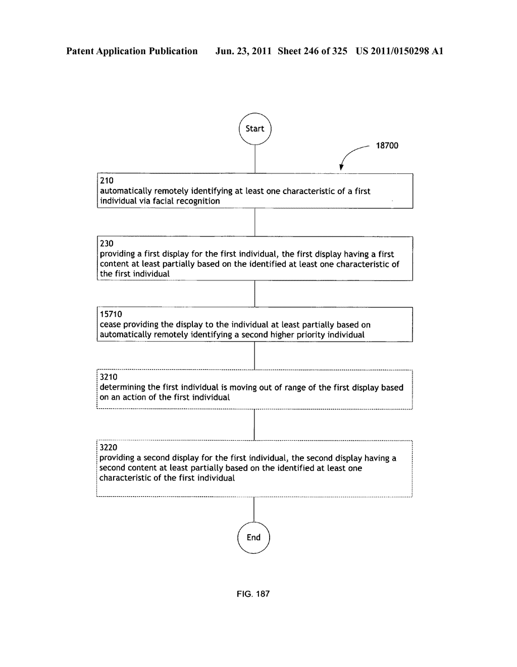 Identifying a characteristic of an individual utilizing facial recognition     and providing a display for the individual - diagram, schematic, and image 247