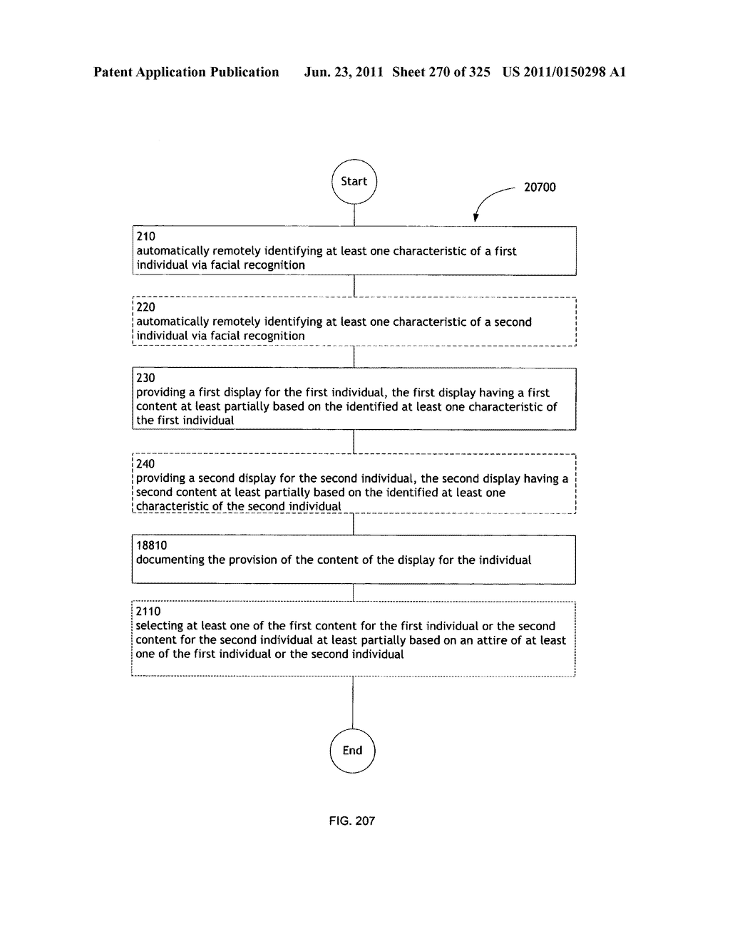 Identifying a characteristic of an individual utilizing facial recognition     and providing a display for the individual - diagram, schematic, and image 271