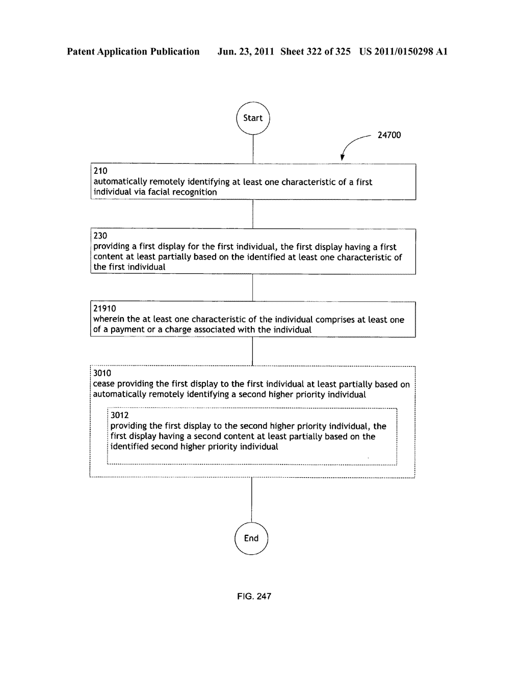 Identifying a characteristic of an individual utilizing facial recognition     and providing a display for the individual - diagram, schematic, and image 323