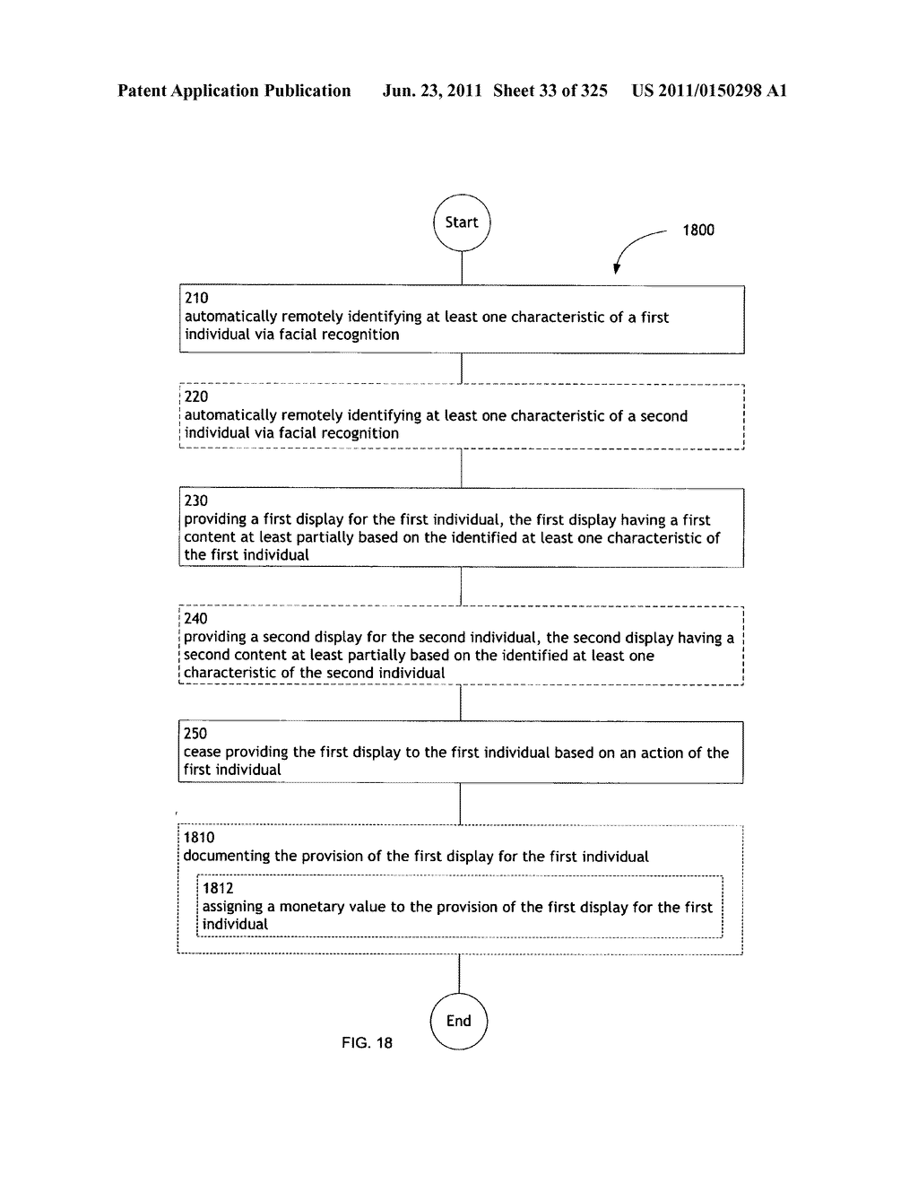 Identifying a characteristic of an individual utilizing facial recognition     and providing a display for the individual - diagram, schematic, and image 34