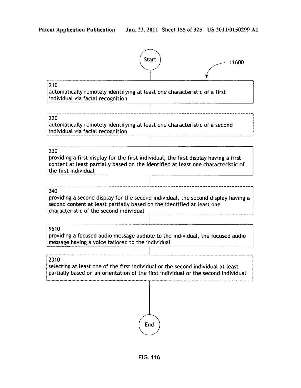 Identifying a characteristic of an individual utilizing facial recognition     and providing a display for the individual - diagram, schematic, and image 156
