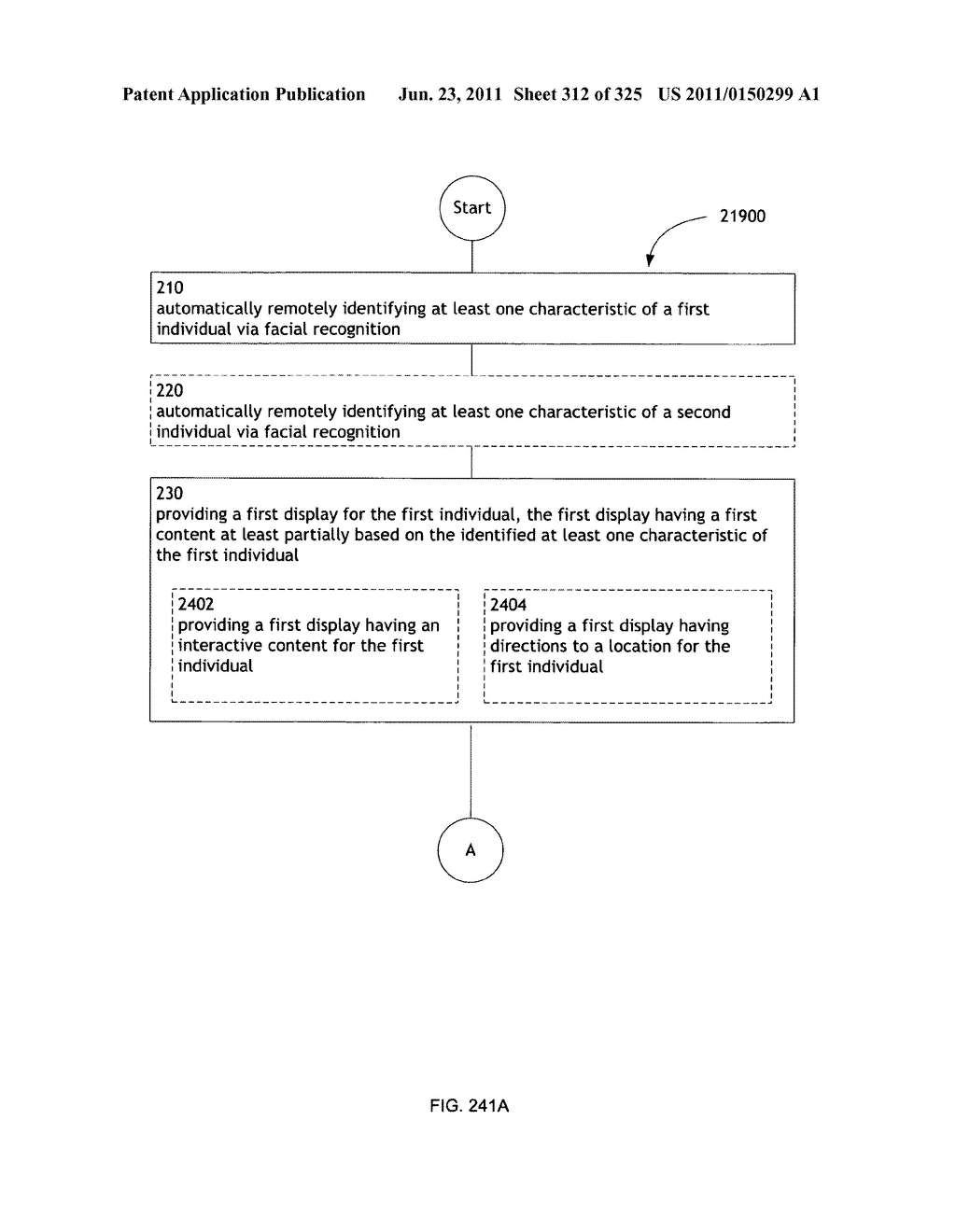 Identifying a characteristic of an individual utilizing facial recognition     and providing a display for the individual - diagram, schematic, and image 313