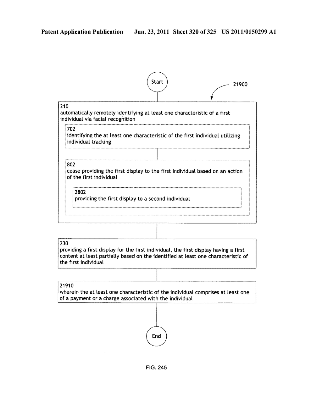 Identifying a characteristic of an individual utilizing facial recognition     and providing a display for the individual - diagram, schematic, and image 321