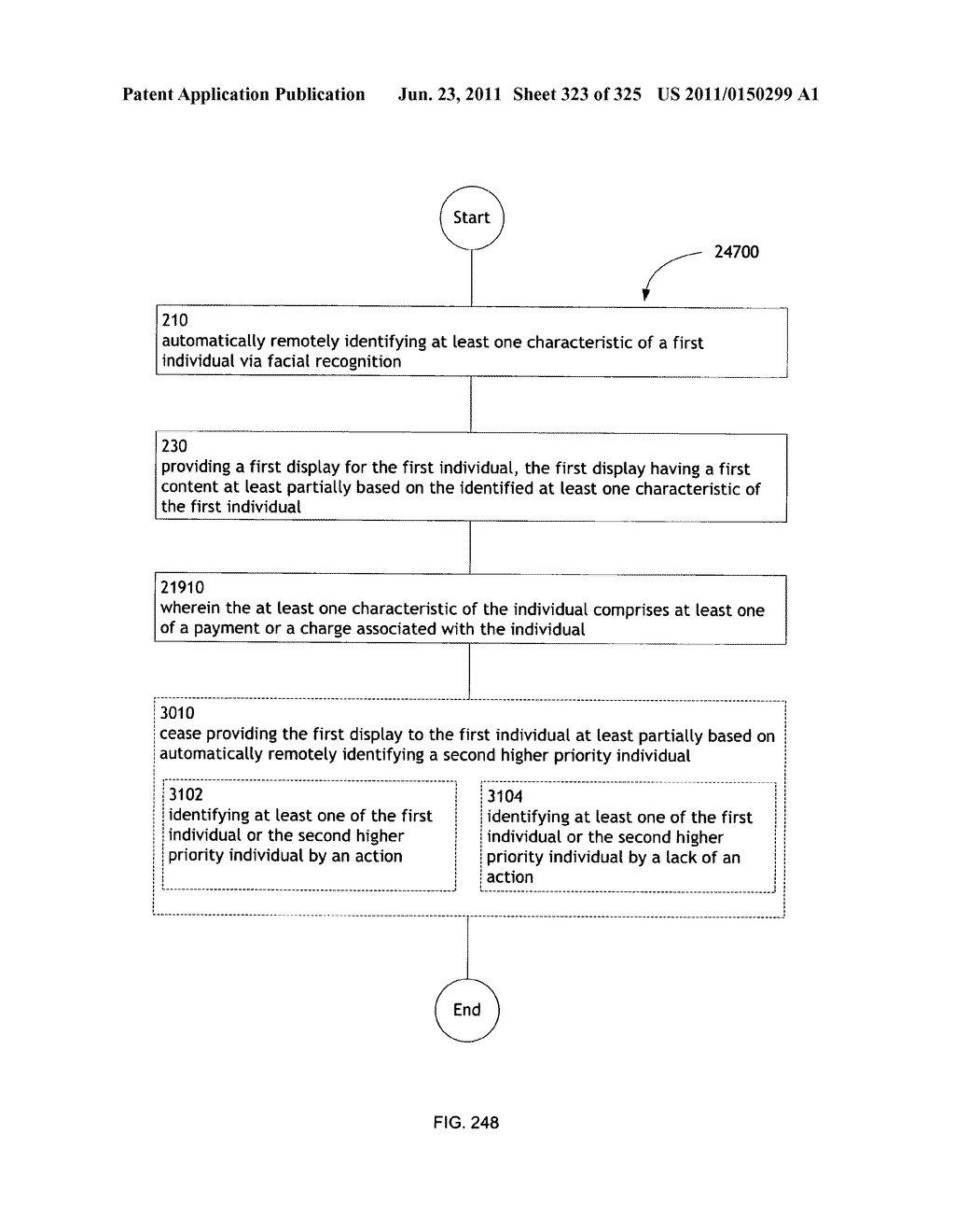 Identifying a characteristic of an individual utilizing facial recognition     and providing a display for the individual - diagram, schematic, and image 324