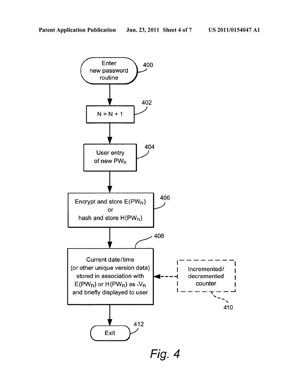 USER-DEFINED PASSWORDS HAVING ASSOCIATED UNIQUE VERSION DATA TO ASSIST     USER RECALL OF THE PASSWORD - diagram, schematic, and image 05