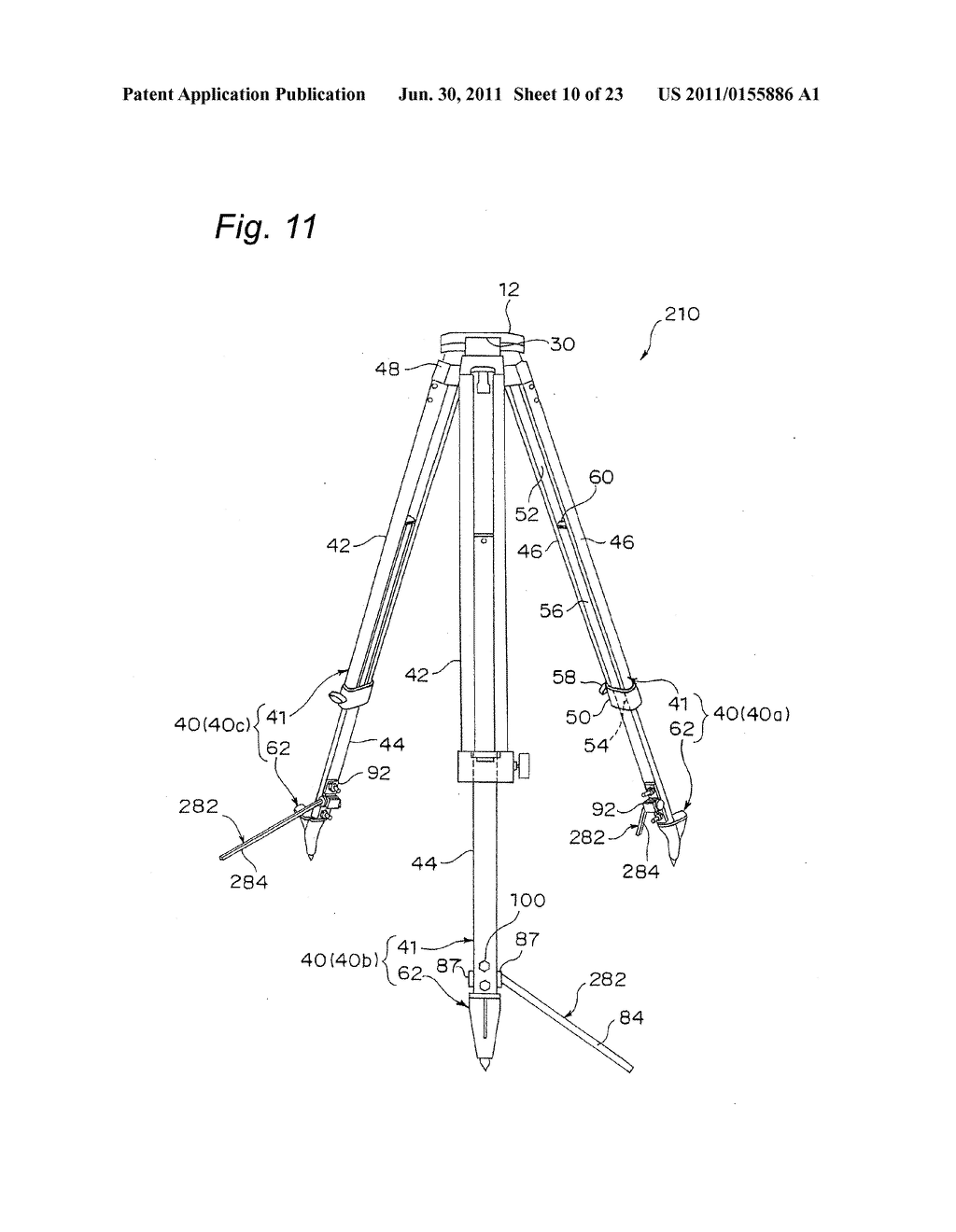 TRIPOD-SUPPORTING DEVICE, TRIPOD, SUPPORT MEMBER FOR TRIPOD AND METHOD FOR     SUPPORTING TRIPOD - diagram, schematic, and image 11