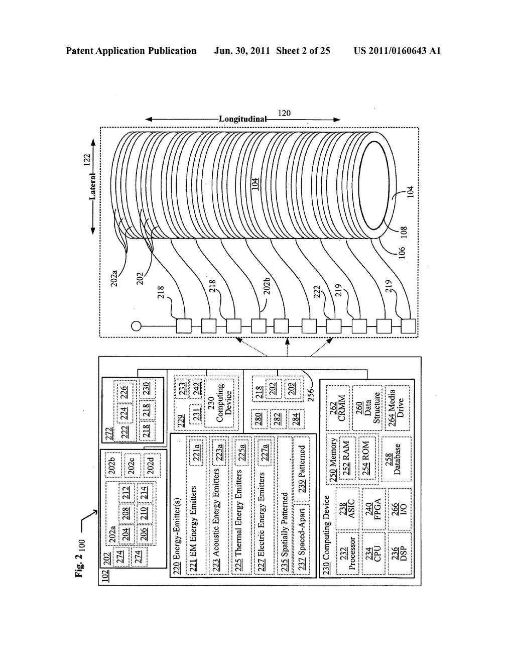 Systems, devices, and methods including catheters having acoustically     actuatable waveguide components for delivering a sterilizing stimulus to     a region proximate a surface of the catheter - diagram, schematic, and image 03