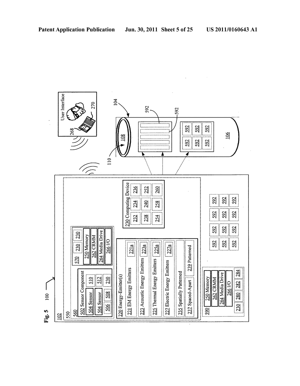 Systems, devices, and methods including catheters having acoustically     actuatable waveguide components for delivering a sterilizing stimulus to     a region proximate a surface of the catheter - diagram, schematic, and image 06