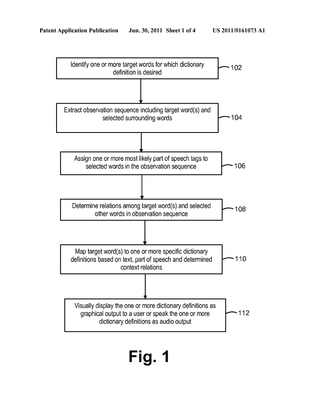 SYSTEM AND METHOD OF DISAMBIGUATING AND SELECTING DICTIONARY DEFINITIONS     FOR ONE OR MORE TARGET WORDS - diagram, schematic, and image 02