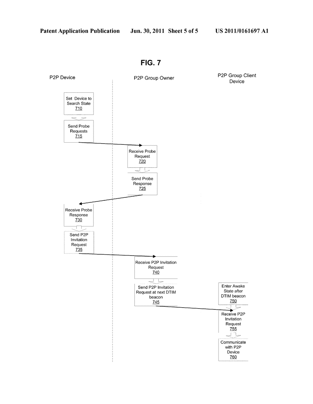 METHOD AND SYSTEM FOR DISCOVERABILITY OF POWER SAVING P2P DEVICES - diagram, schematic, and image 06