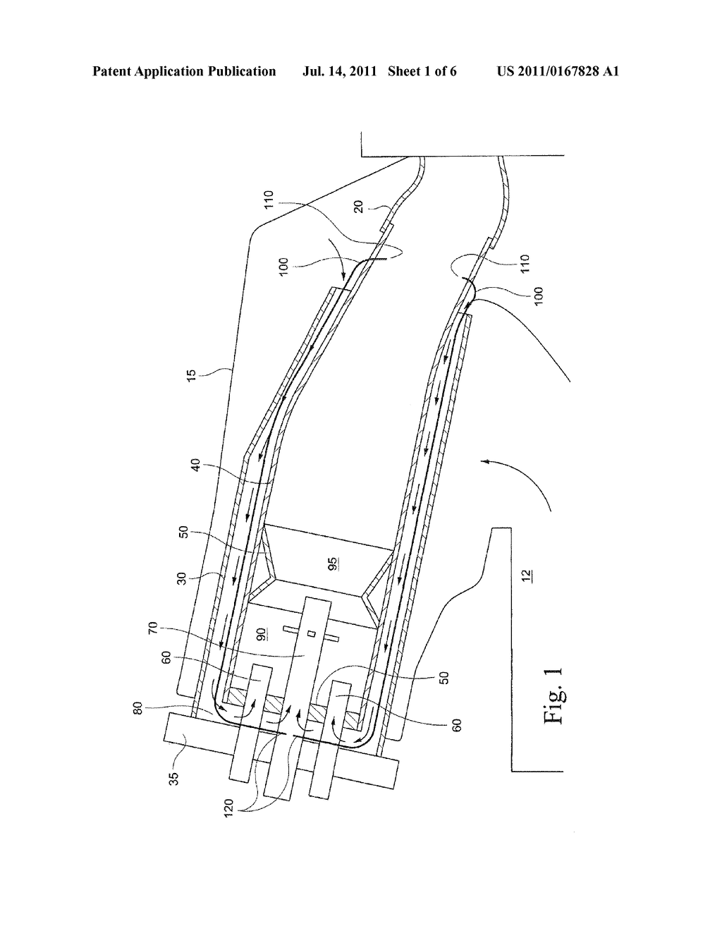 COMBUSTOR ASSEMBLY FOR A TURBINE ENGINE THAT MIXES COMBUSTION PRODUCTS     WITH PURGE AIR - diagram, schematic, and image 02