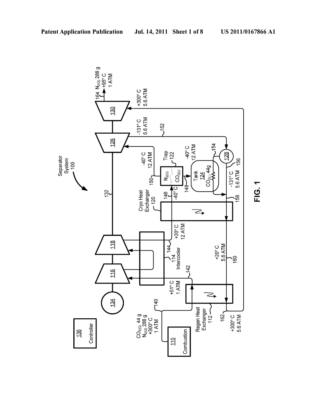 SYSTEM AND METHOD FOR SEPARATING GASSES IN AN EXHAUST GAS - diagram, schematic, and image 02