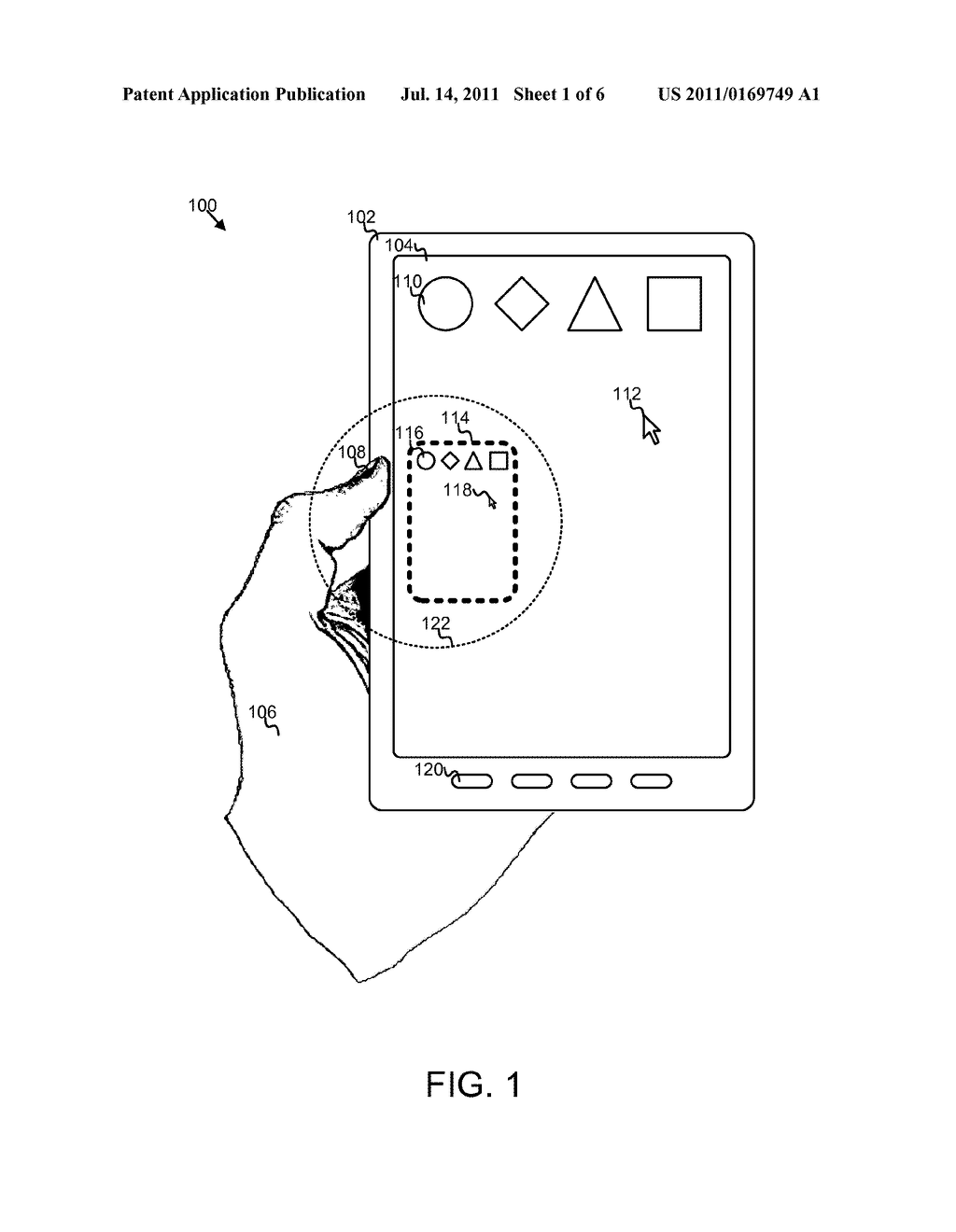 VIRTUAL TOUCHPAD FOR A TOUCH DEVICE - diagram, schematic, and image