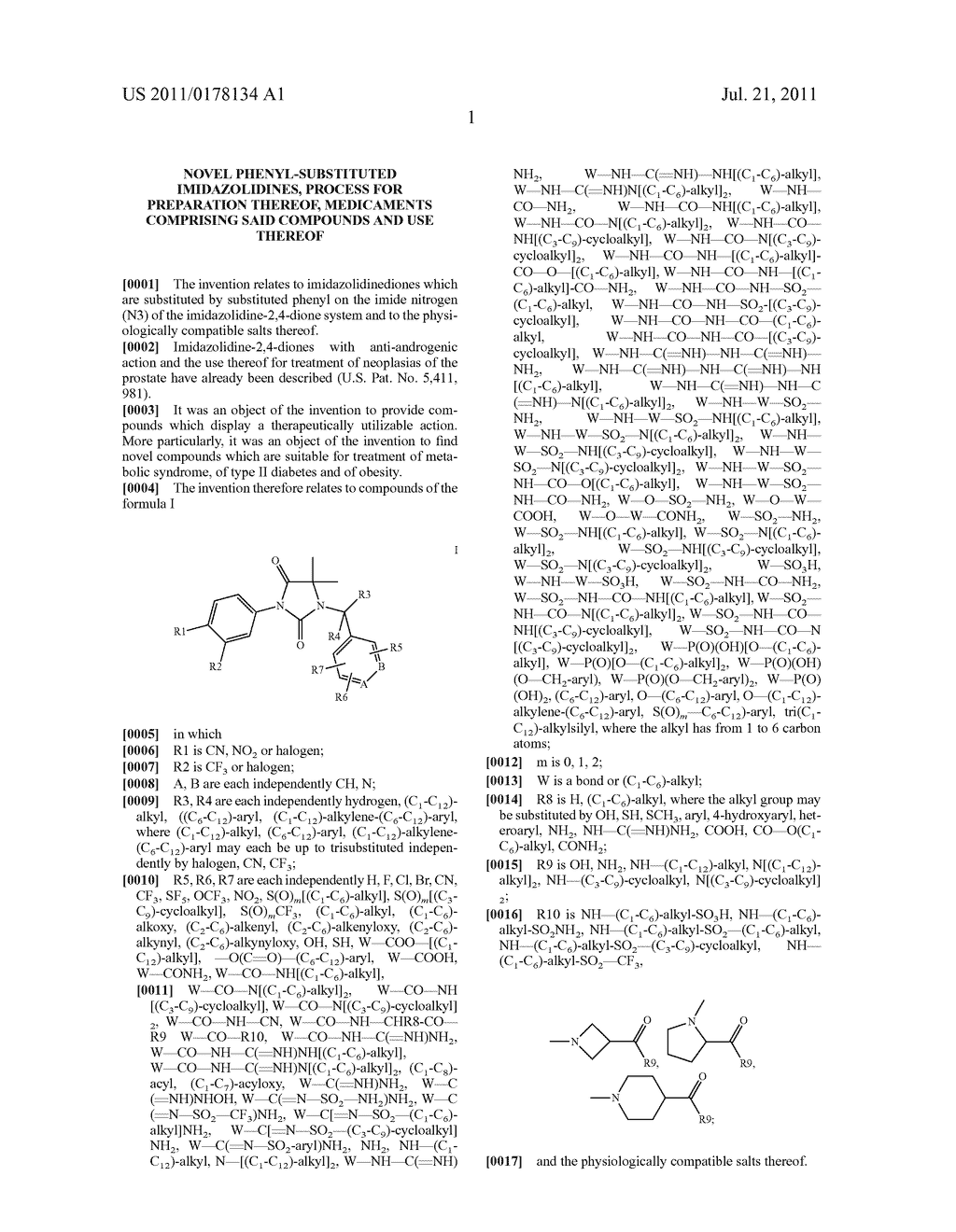 Novel phenyl-substituted imidazolidines, process for preparation thereof,     medicaments comprising said compounds and use thereof - diagram, schematic, and image 02