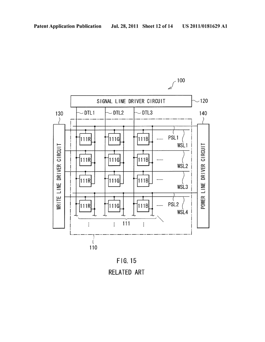 DISPLAY DEVICE, METHOD OF DRIVING THE DISPLAY DEVICE, AND ELECTRONIC     DEVICE - diagram, schematic, and image 13