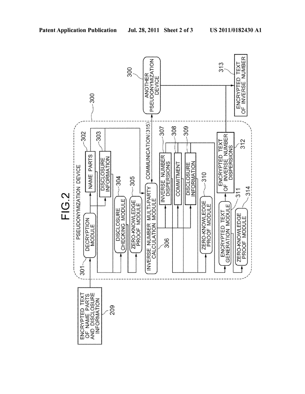NAME ENCRYPTION DEVICE, PSEUDONYMIZATION DEVICE, NAME ENCRYPTION METHOD,     AND PSEUDONYMIZATION METHOD - diagram, schematic, and image 03