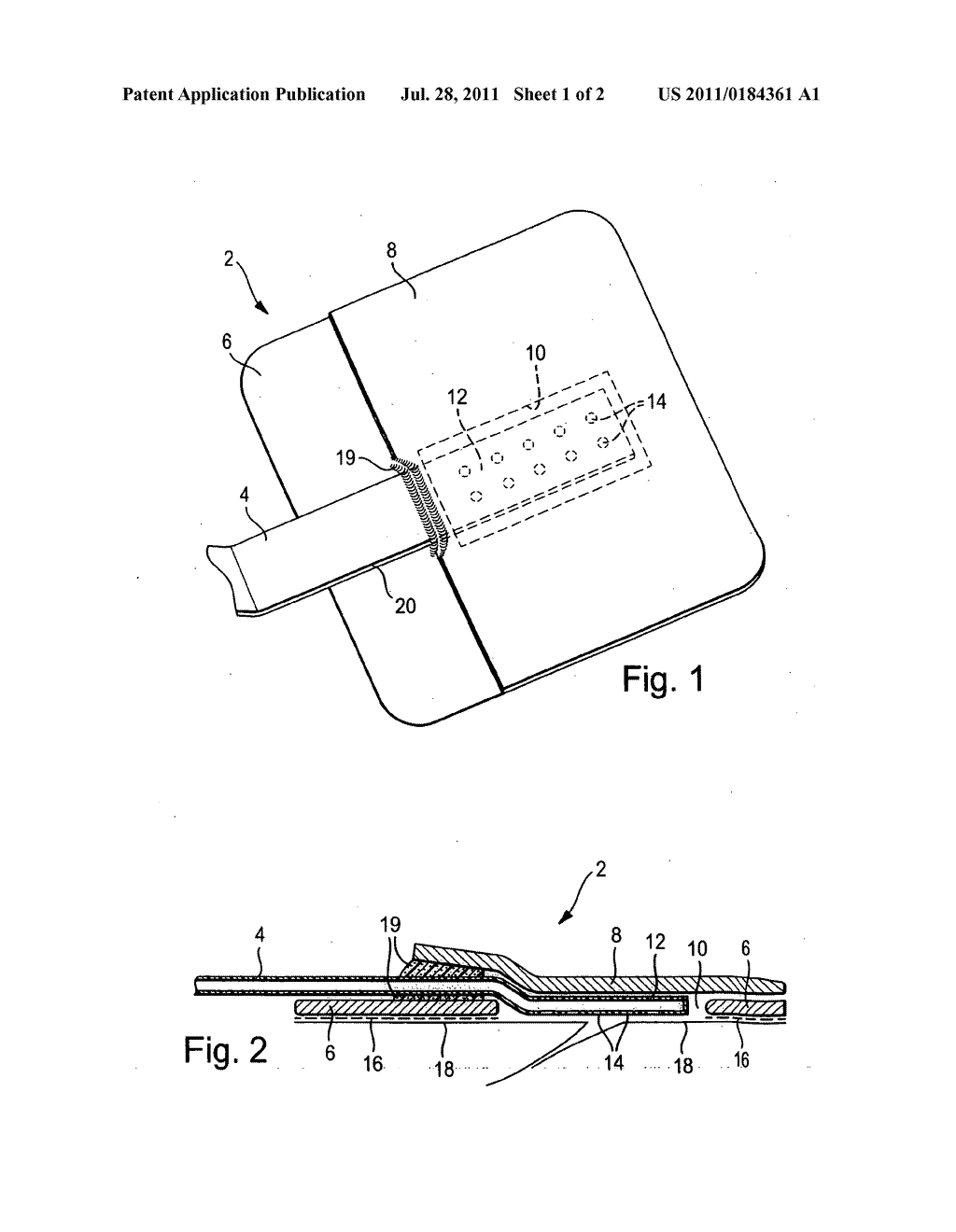 Connecting device for use with vacuum treatment of wounds - diagram, schematic, and image 02
