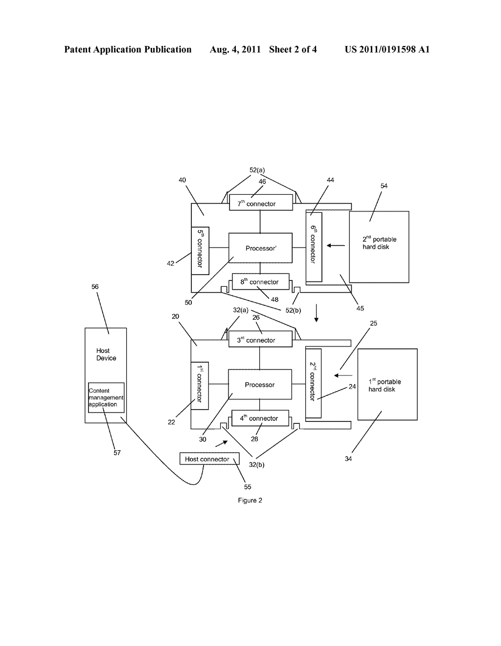DOCK FOR A PORTABLE HARD DISK AND A METHOD FOR ACCESSING CONTENT ON A     HOST DEVICE USING THE DOCK - diagram, schematic, and image 03