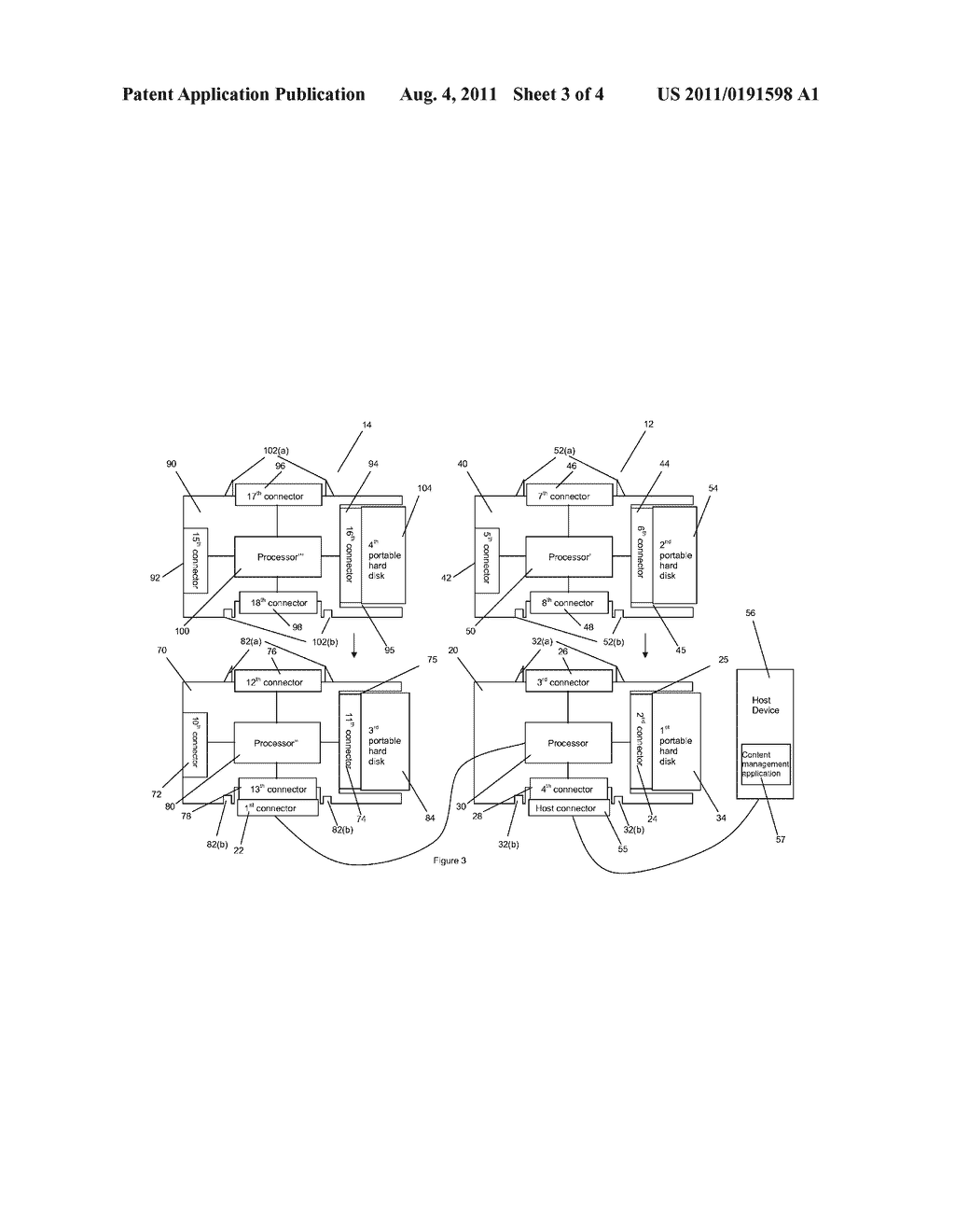 DOCK FOR A PORTABLE HARD DISK AND A METHOD FOR ACCESSING CONTENT ON A     HOST DEVICE USING THE DOCK - diagram, schematic, and image 04
